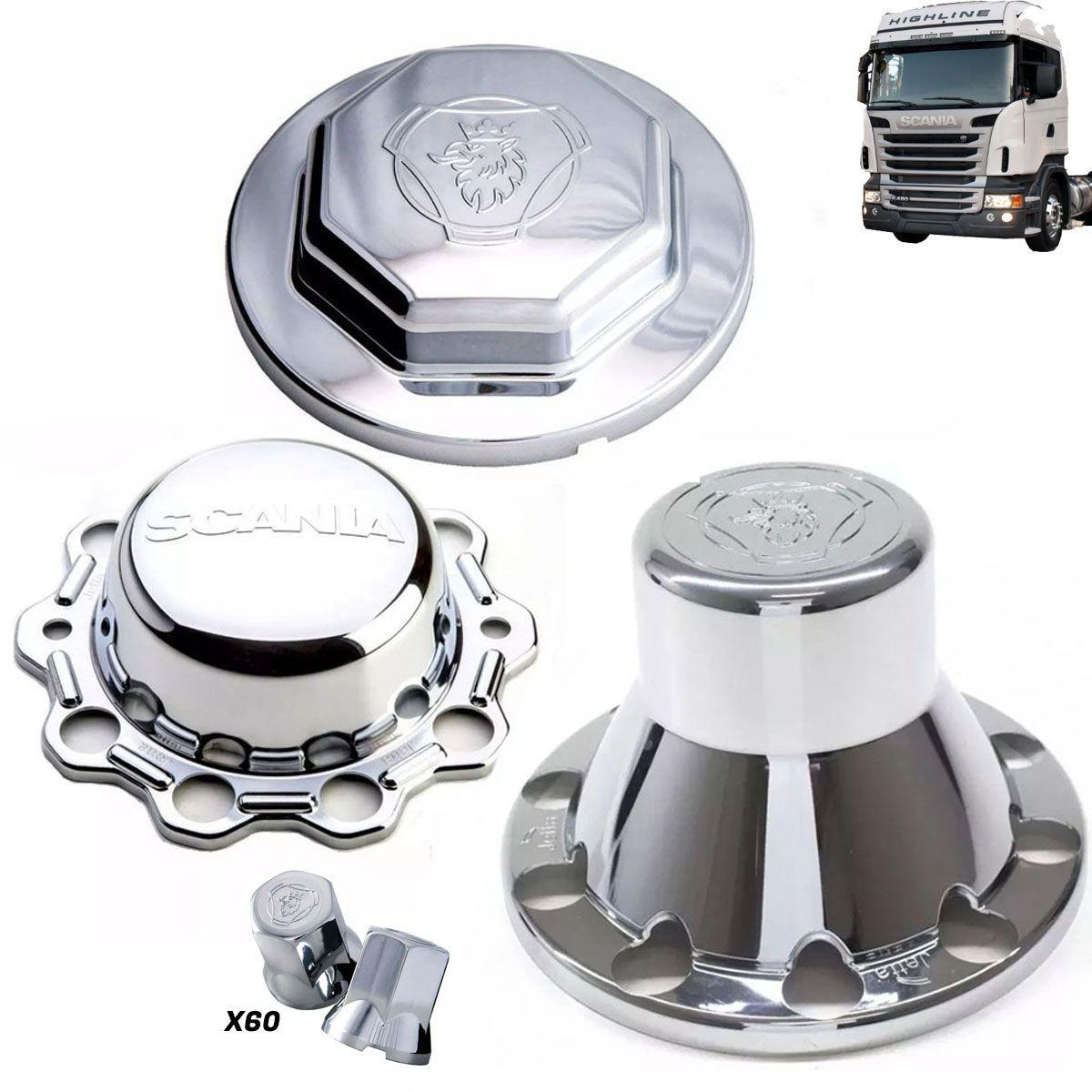 Kit sobre tampa dianteira tração e truck + 60 capas de porca compatível com o caminhão Scania S5 após 2011