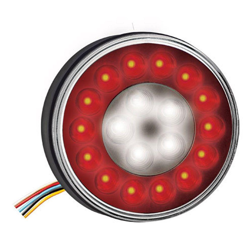 Lanterna 19 LEDs Bivolt Universal Corujinha Braspoint Reposição Facchini - LED Vermelho e Cristal