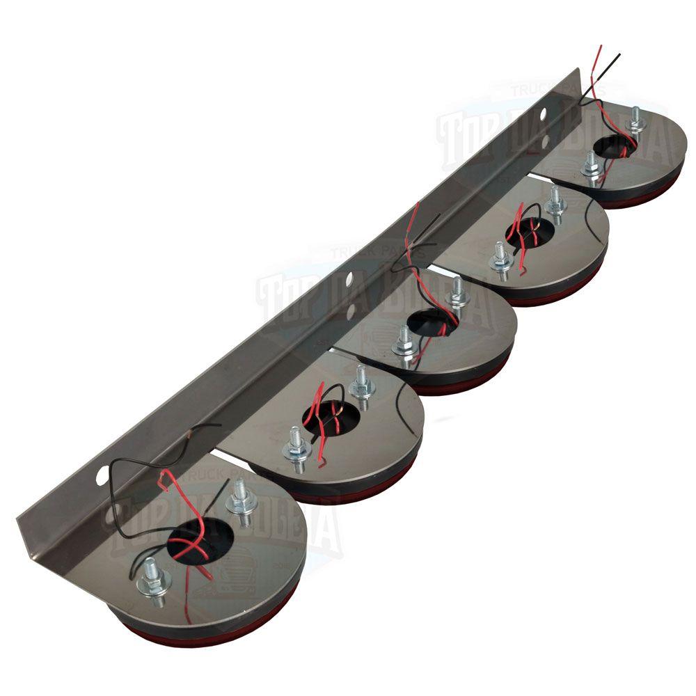 Lanterna 5 Marias em Led com Suporte Inox Bivolt Vermelha