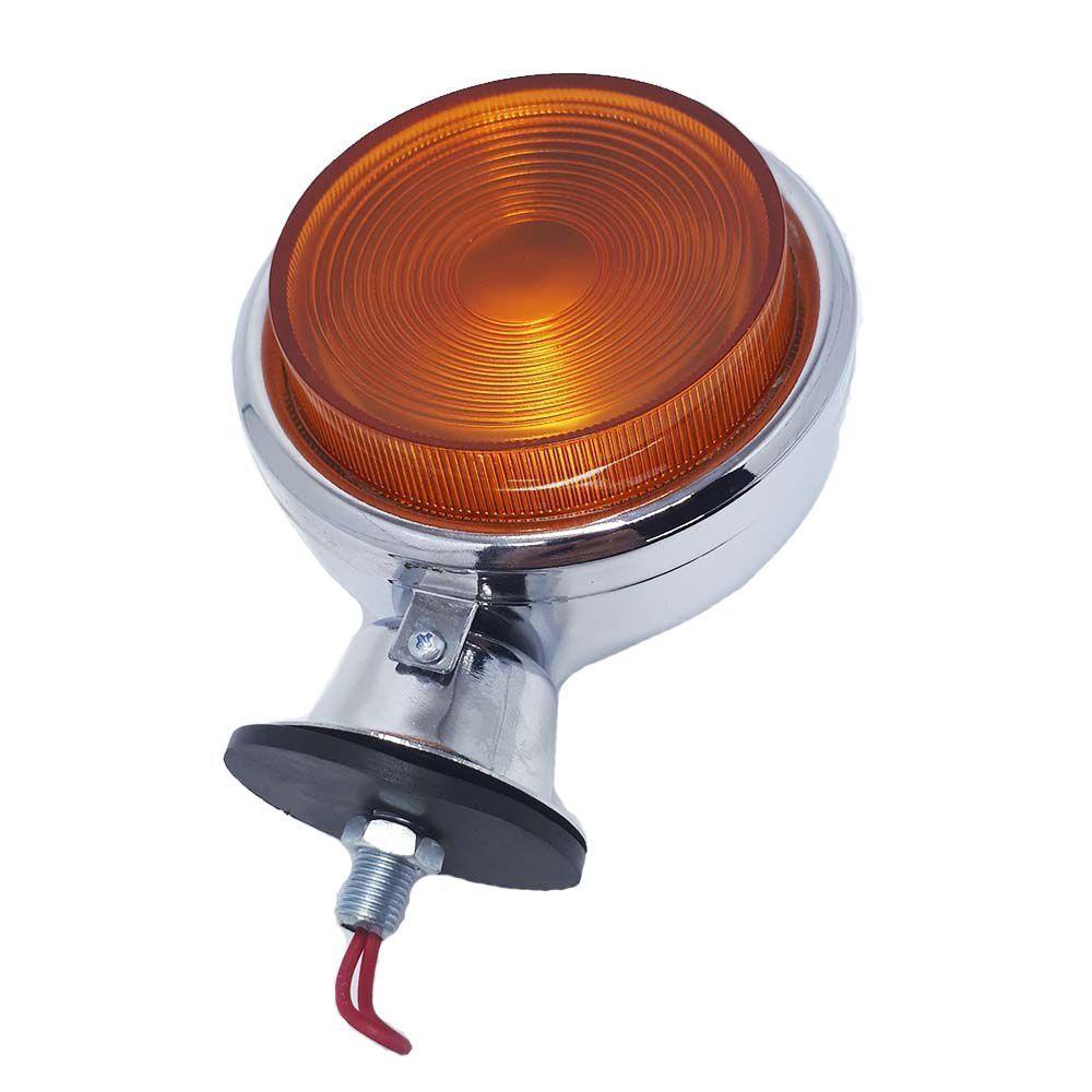 Lanterna Foguinho Laranja Cromada com suporte