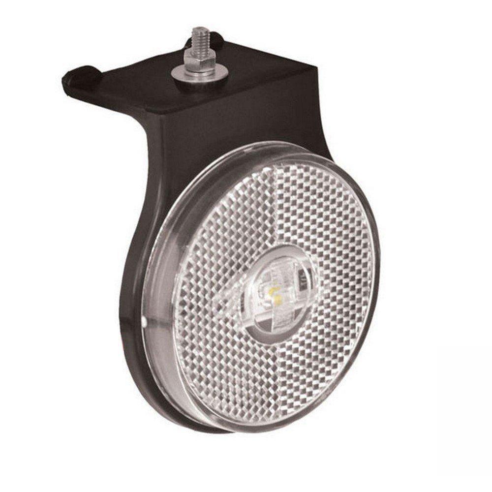 Lanterna lateral de led Branca Carreta 85 mm 12V 24V com fio 10 unidades