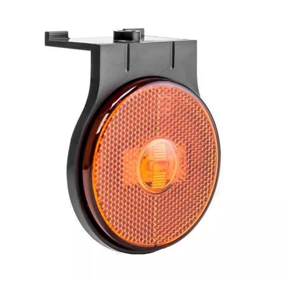Lanterna lateral de led Laranja Carreta 65 mm 12V 24V com conector 10 unidades