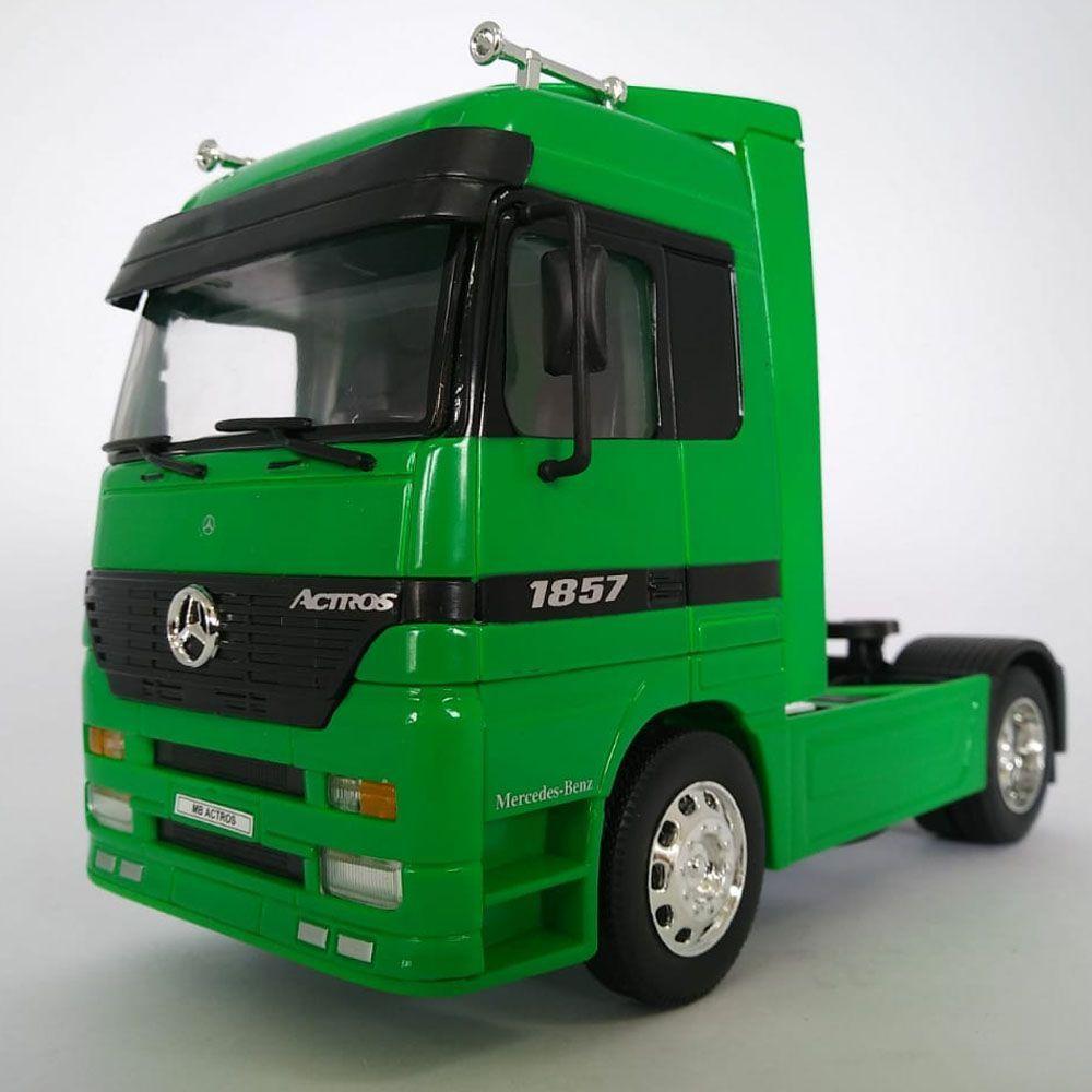 Miniatura Caminhão Mercedes-benz Actros Toco 4x2 Escala 1:32 Verde