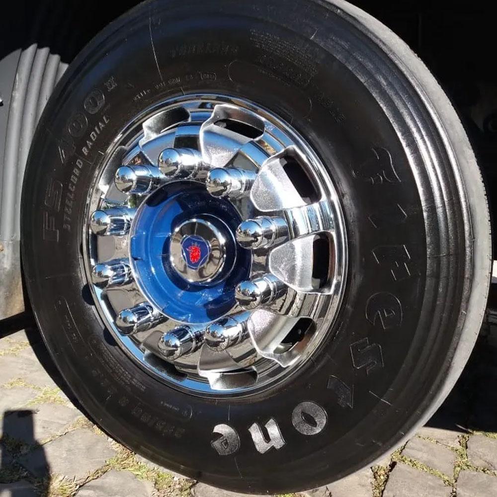 Par Calota Dianteira Cromada Racetruck para Caminhão Roda Aro 22,5