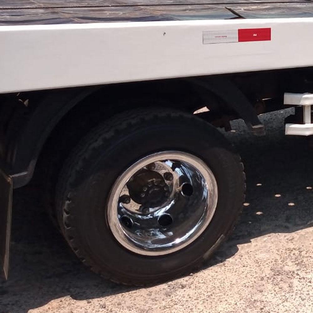 Par Calotas Cromada Traseira para Caminhão Aro 17,5 pneu 215 Furo Redondo Roda Estreita