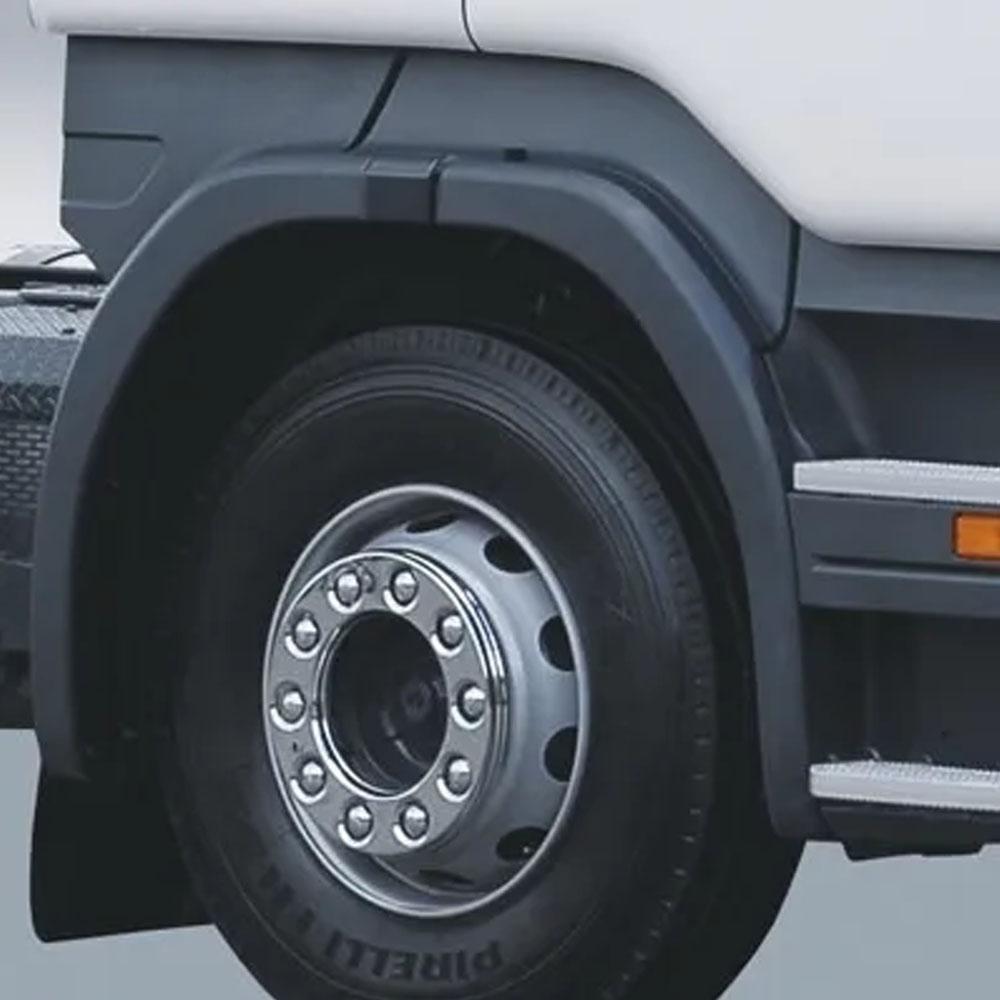 Par Calotas Protetoras De Roda Dianteiras Cromadas Aro 20 e 22,5 10 Furos
