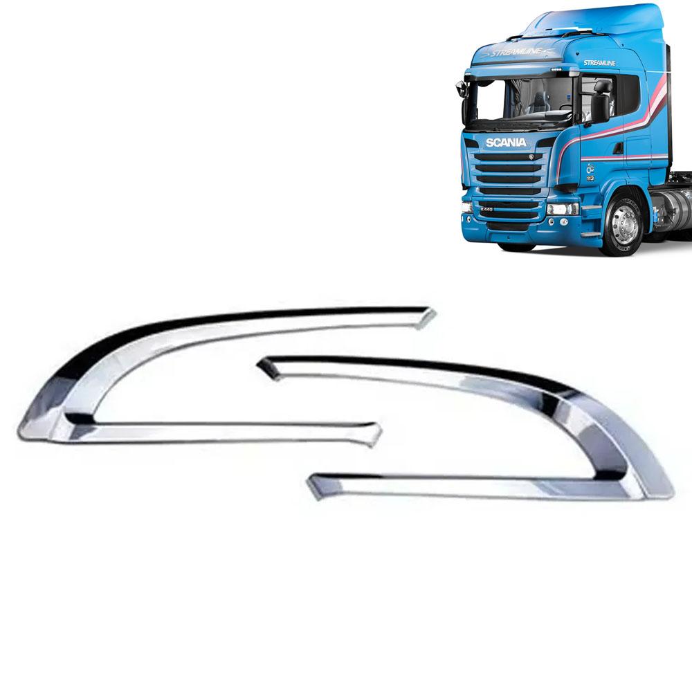 Par de Acabamentos Entrada de Ar Cromado para Caminhão Scania G/R S5 Moderno