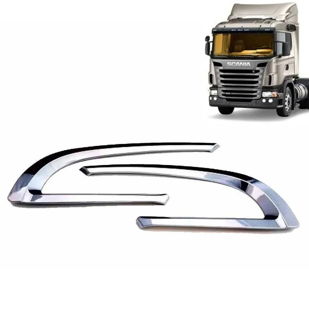 Par de Acabamentos Entrada de Ar Cromado para Caminhão Scania S5 G/R 2008 / 2009
