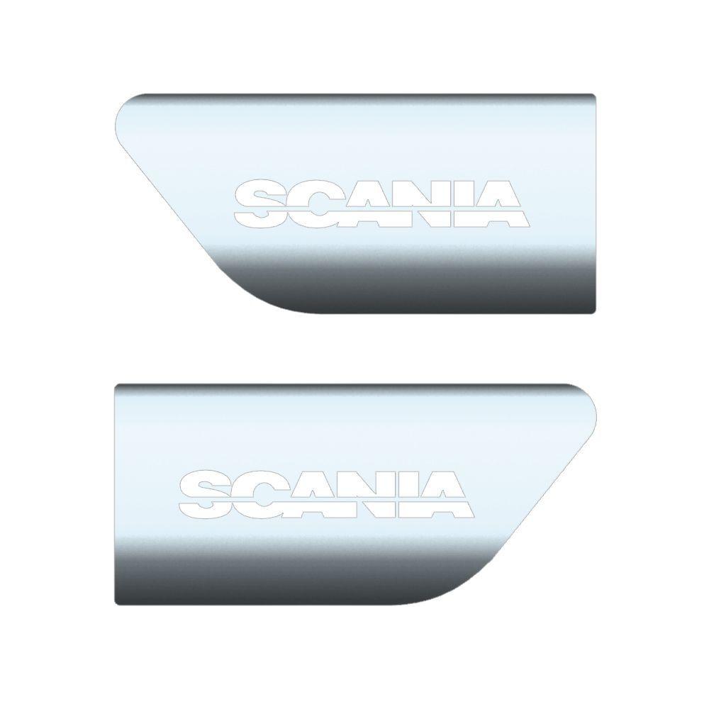 Par de Aplique Inox para Lama Traseiro da Cabine Compatível com o Caminhão Scania a Partir de 1998