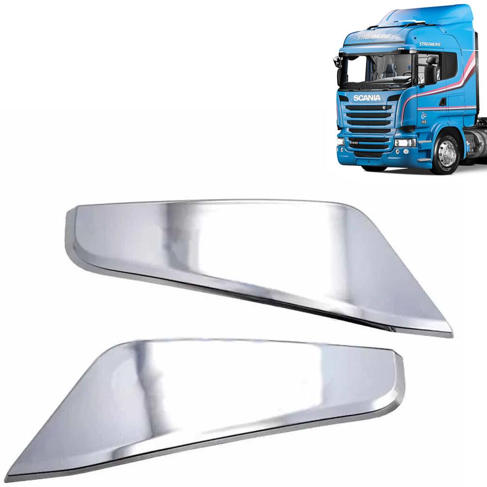 Par de Apliques do Defletor Coluna Cromado  para Caminhão Scania Série 5