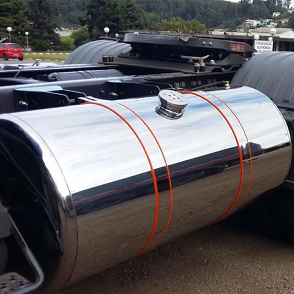 Par de Cintas em Inox 75mm com Borracha laranja 76mm para Tanque de Combustível Volvo 660mm