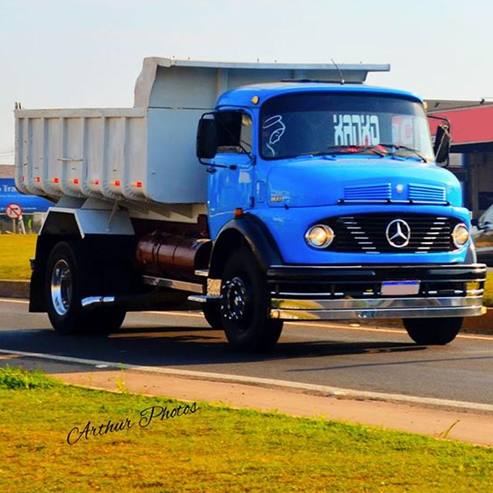 Para-choque Argentino 2 Lâminas Caminhão Mercedes Benz 1113 1114 1518 (Farol Redondo)