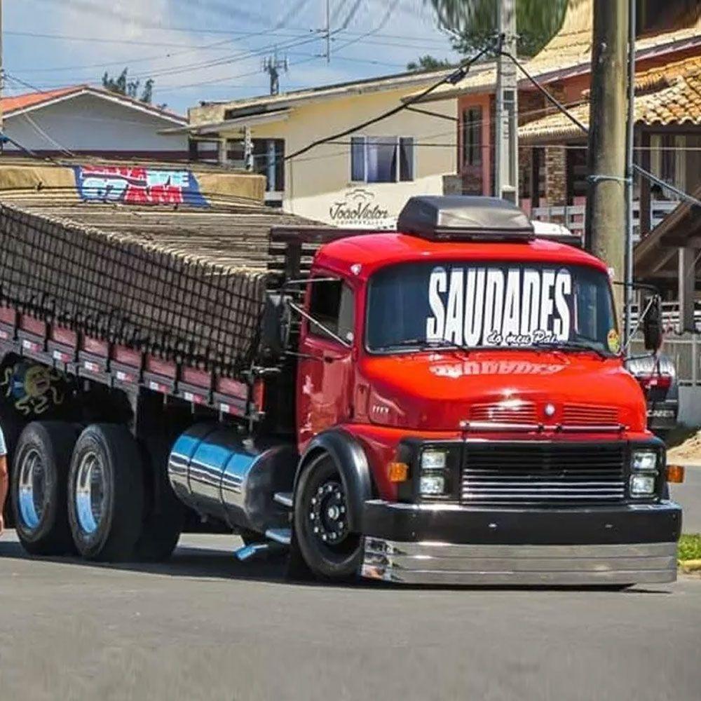 Para-choque Argentino 3 Lâminas Caminhão Mb 1113 1114 1518  (Farol Quadrado)