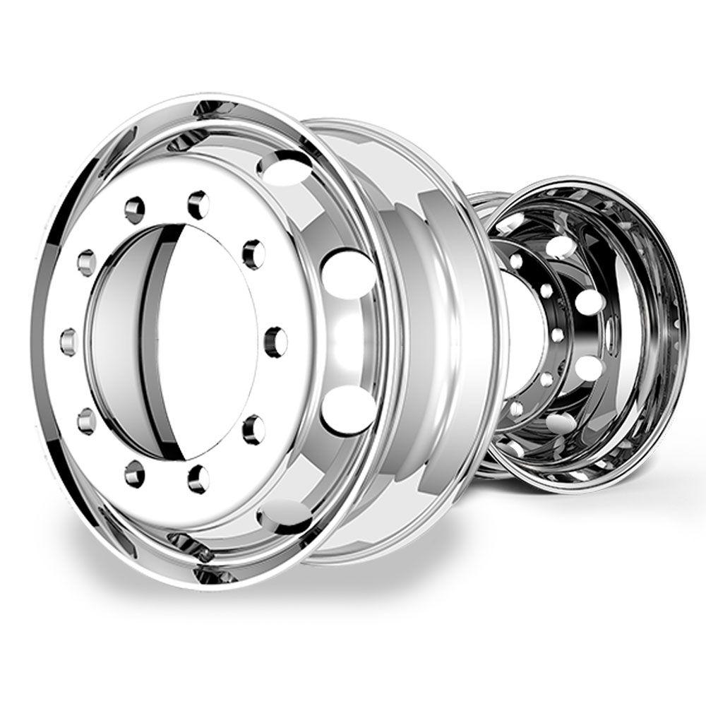 Roda de alumínio Caminhão 22,5 x 8,25 10 Furos Auto Brilho Borda Larga