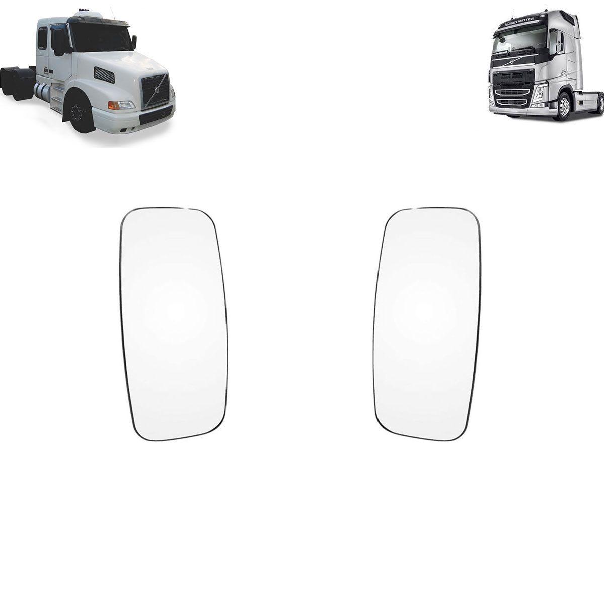 Vidro com Base Espelho Volvo FH - NH Lado Esquerdo - Lado Direito sem Desembaçador