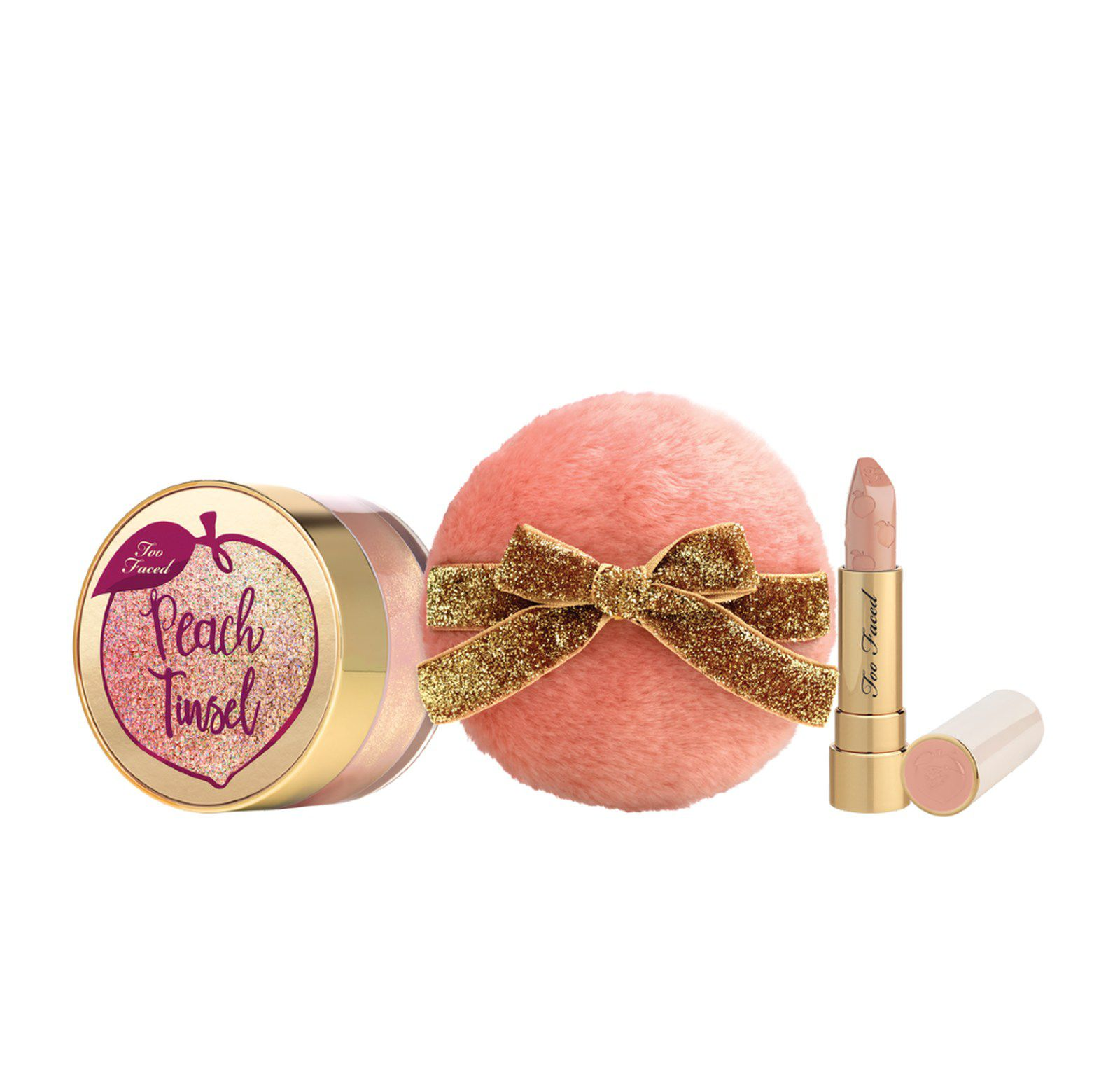 Peach Tinsel Loose Sparkling & Lipstick Set  TOO FACED