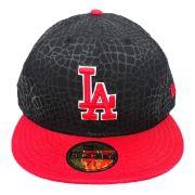 Boné New Era Beisebol Los Angeles Dodgers Aba Vermelha Reta Fechado