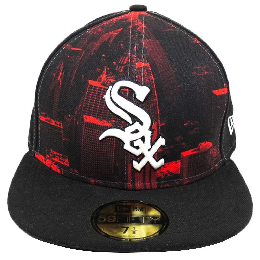 Boné New Era Beisebol Chicago White Sox Imagem Aba Reta Fechado