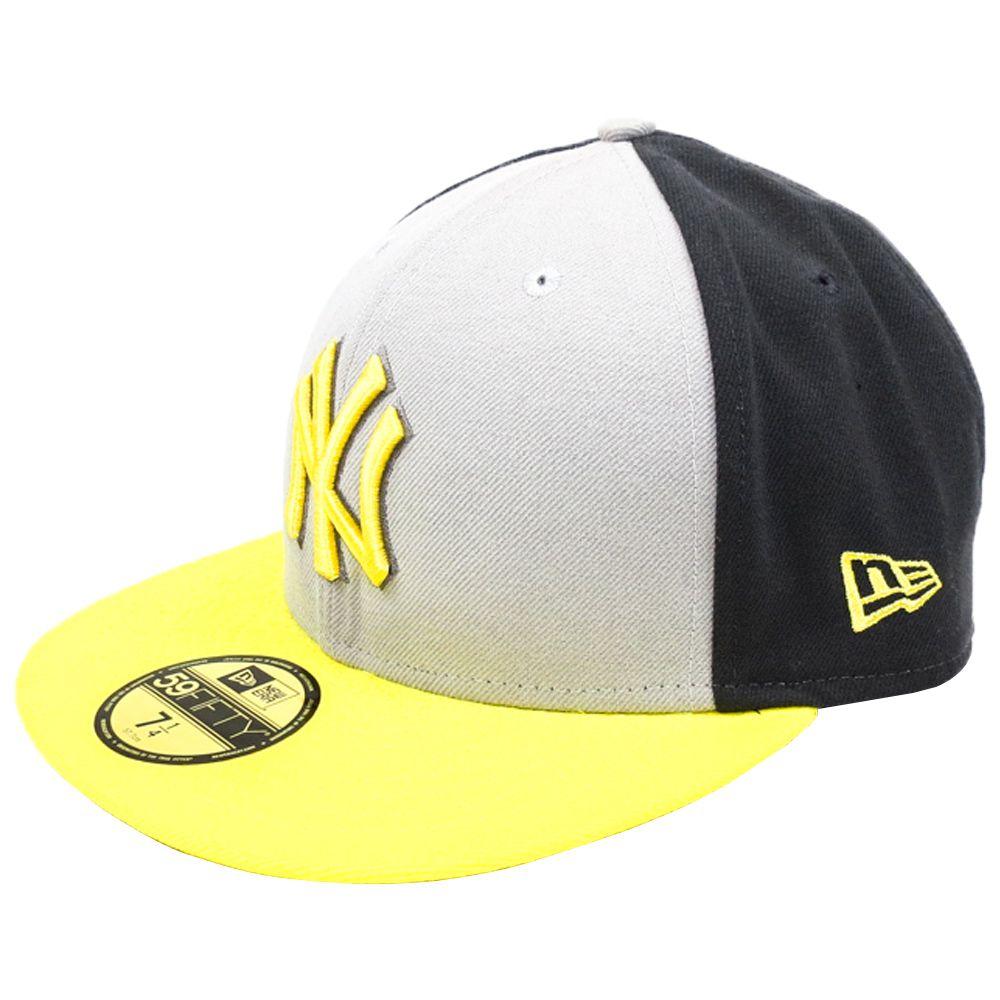 Boné New Era Beisebol New York Yankees Aba Amarela Reta Fechado