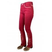 Calça Jeans Feminina Minuty Country Boot Cut Vermelho Queimado
