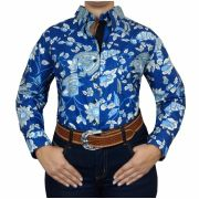 Camisa Feminina Absolut Country Floral Azul e Branco Ref. 18233