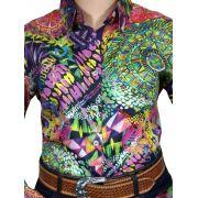 Camisa Feminina Smith Brothers Ref. Floral Mandala Colorida