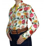 Camisa Feminina Smith Brother's Ref. Rosas Coloridas