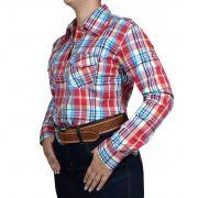 Camisa Feminina Smith Brothers Xadrez Vermelho e Azul Ref. 07