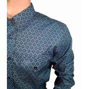Camisa Masculina Dock's Floral Azul Ref. 168