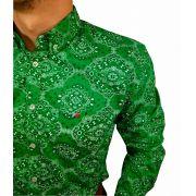 Camisa Masculina Smith Brother's Estampada Verde Ref. 12216