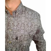 Camisa Masculina Smith Brothers Floral Cinza Ref. 12218/2