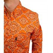 Camisa Masculina Smith Brother's Laranja Floral Ref. 12218/5