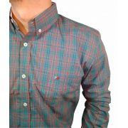 Camisa Masculina Smith Brothers Xadrez Cinza e Rosa Ref. 11395