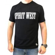 Camiseta Masculina Spirit West Preta Escrita Branco