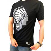 Camiseta Masculina Spirit West Preta Logo Preto/Branco.