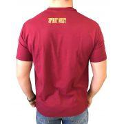 Camiseta Masculina Spirit West Vinho Logo Preto/Amarelo