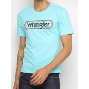Camiseta Masculina Wrangler Azul Claro Logo Colorido Ref. WM8023AB