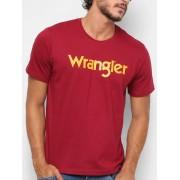 Camiseta Masculina Wrangler Vinho Logo Amarelo Ref. WM58522VI
