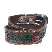 Cinto World Country Flores com Strass Ref. 8150