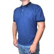 Polo Masculina Laço Forte Azul Detalhes Azul Marinho