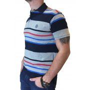 Polo Masculina Smith Brother's Listras em Cinza, Azul e Vermelho