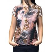 T-Shirt Feminina Minuty Brown Horses Ref. 2020