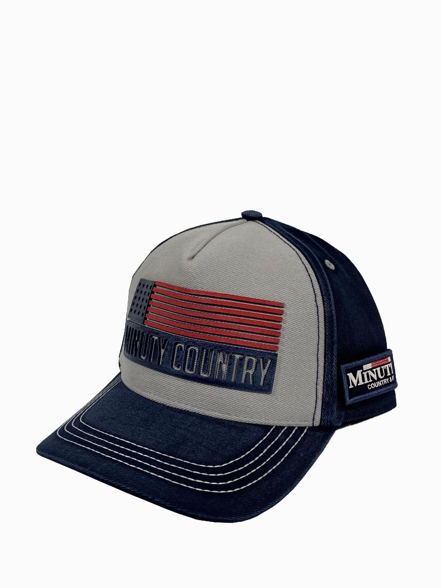 Boné Masculino Minuty Country Aba Jeans Bandeira E.U.A
