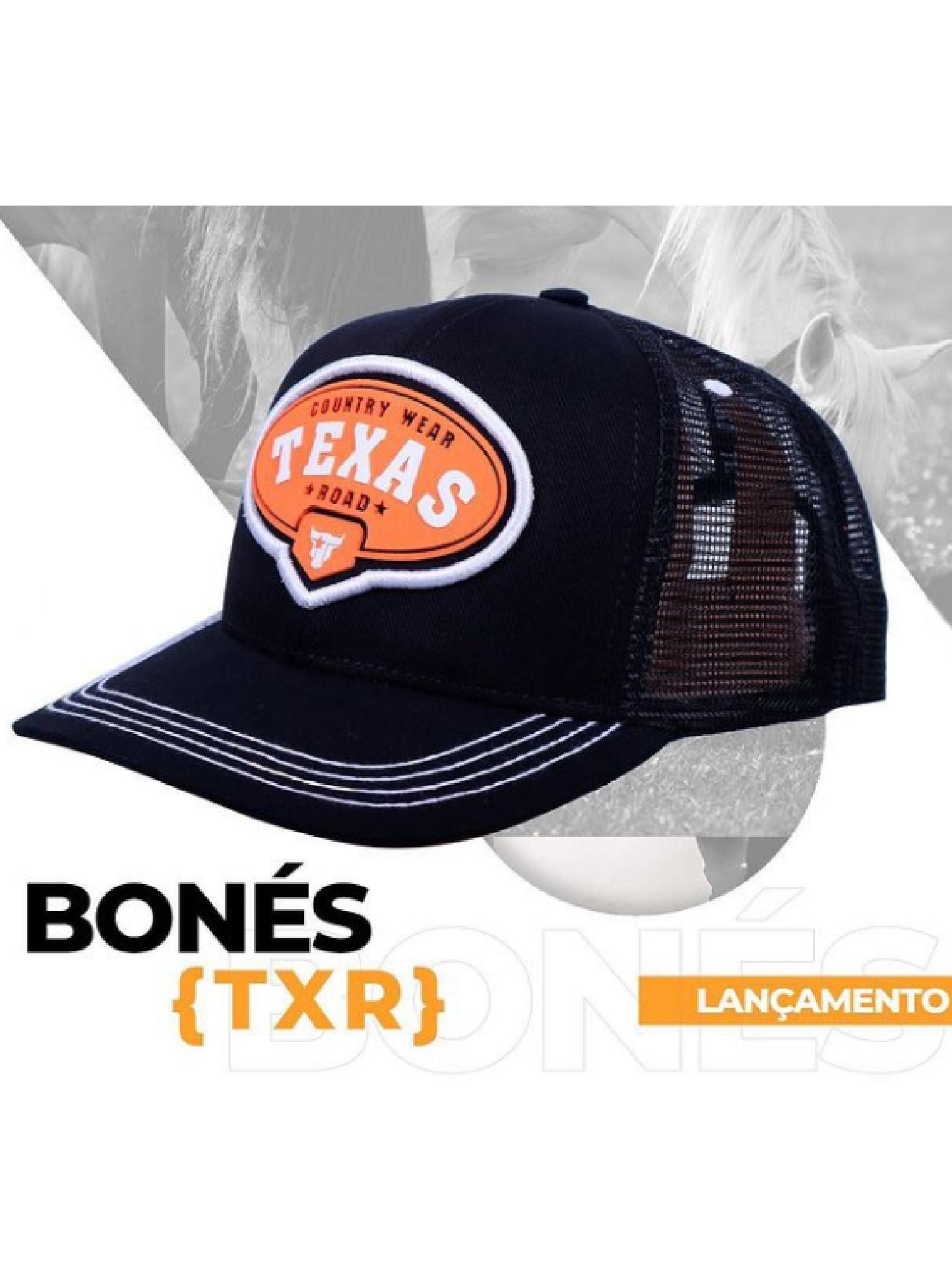 Boné Texas Road Preto e Laranja Country Wear