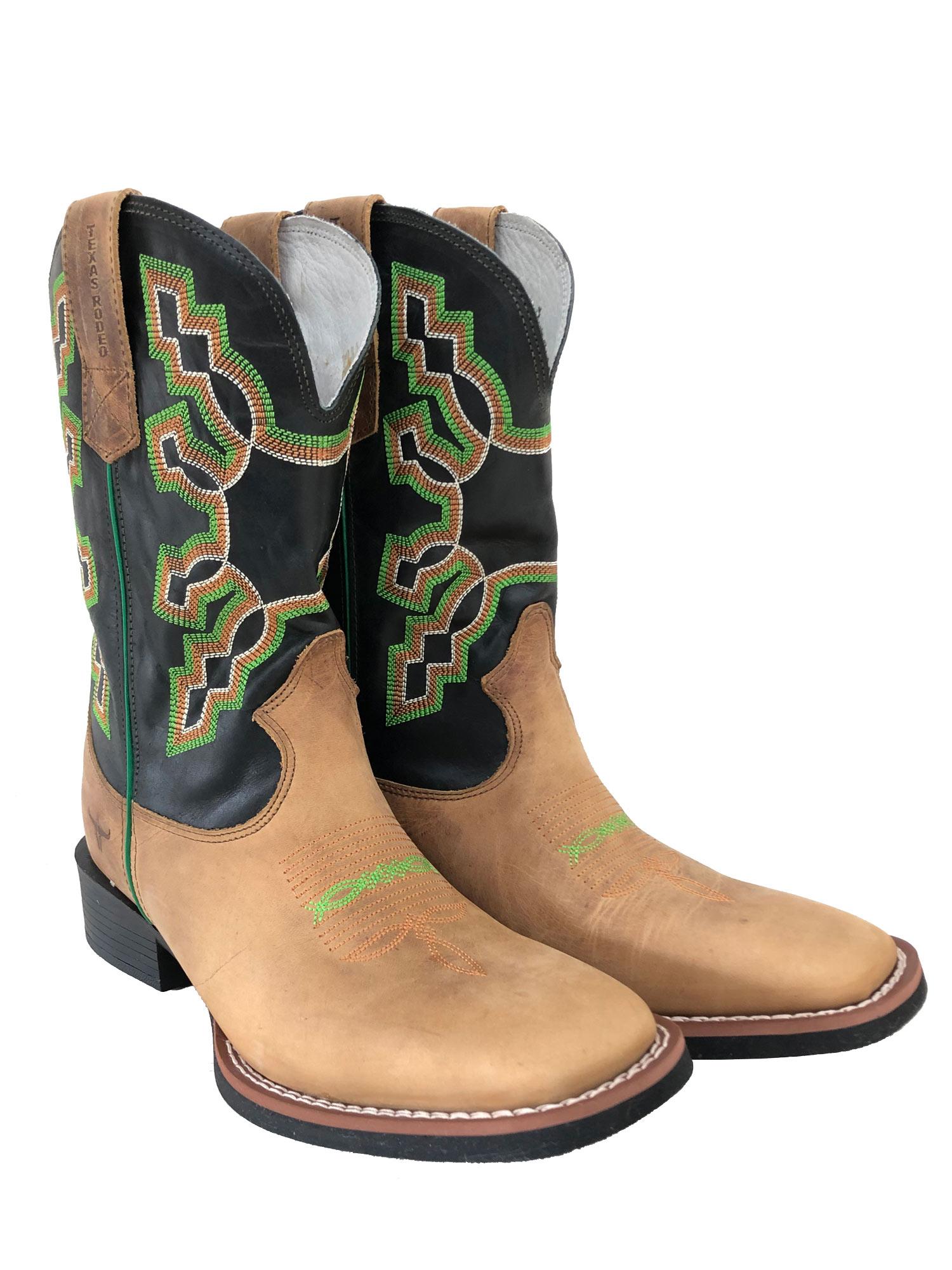 Bota Texas Rodeo Masculina Crazy Mostarda/Fossil Preto TR113