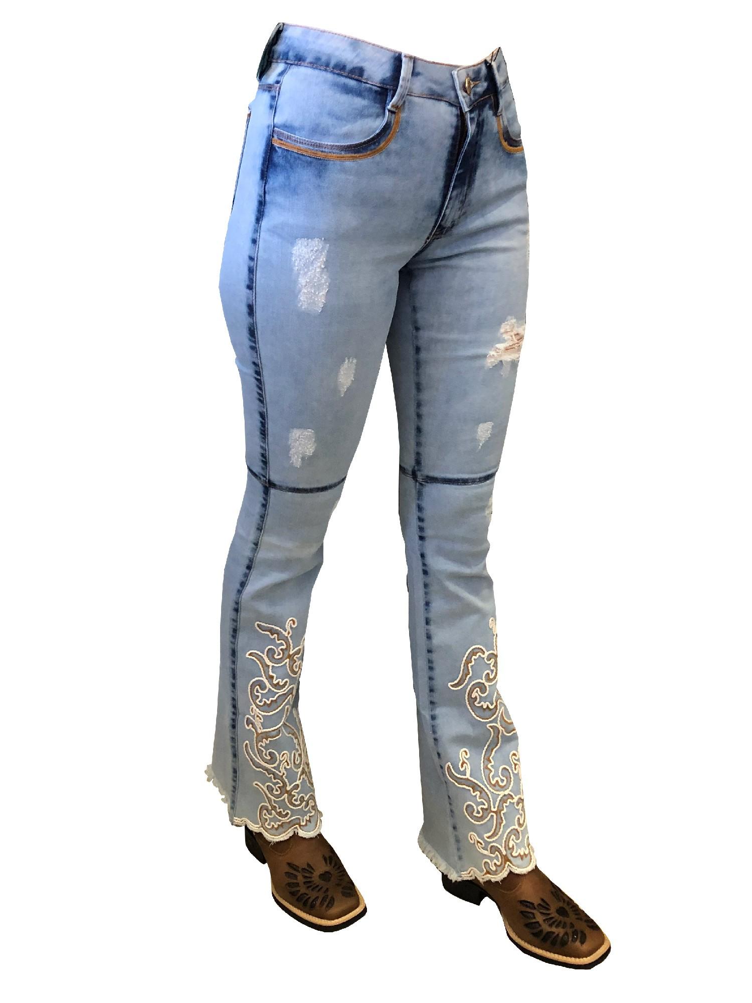Calça Jeans Feminina Flare Bordada Cós Medio Ref. 20601
