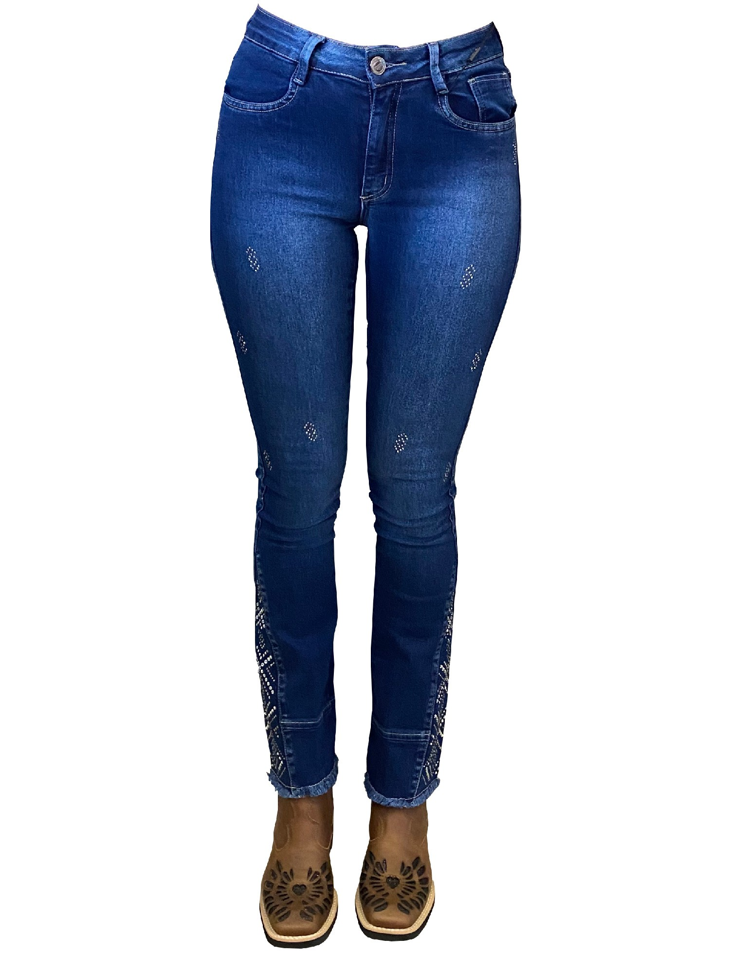 Calça Jeans Feminina Minuty Country Boot Cut Strass 19549