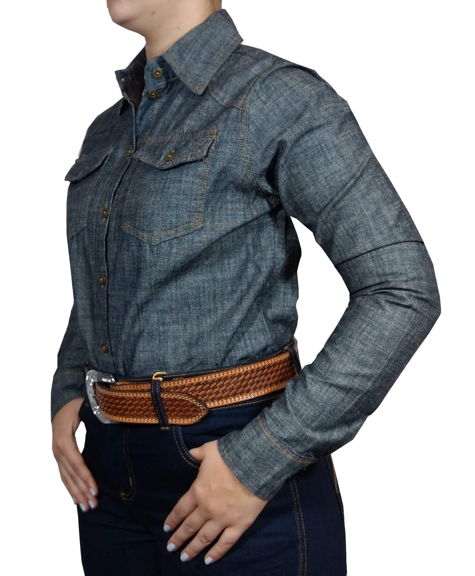 Camisa Feminina Apache Jeans Dois Bolsos
