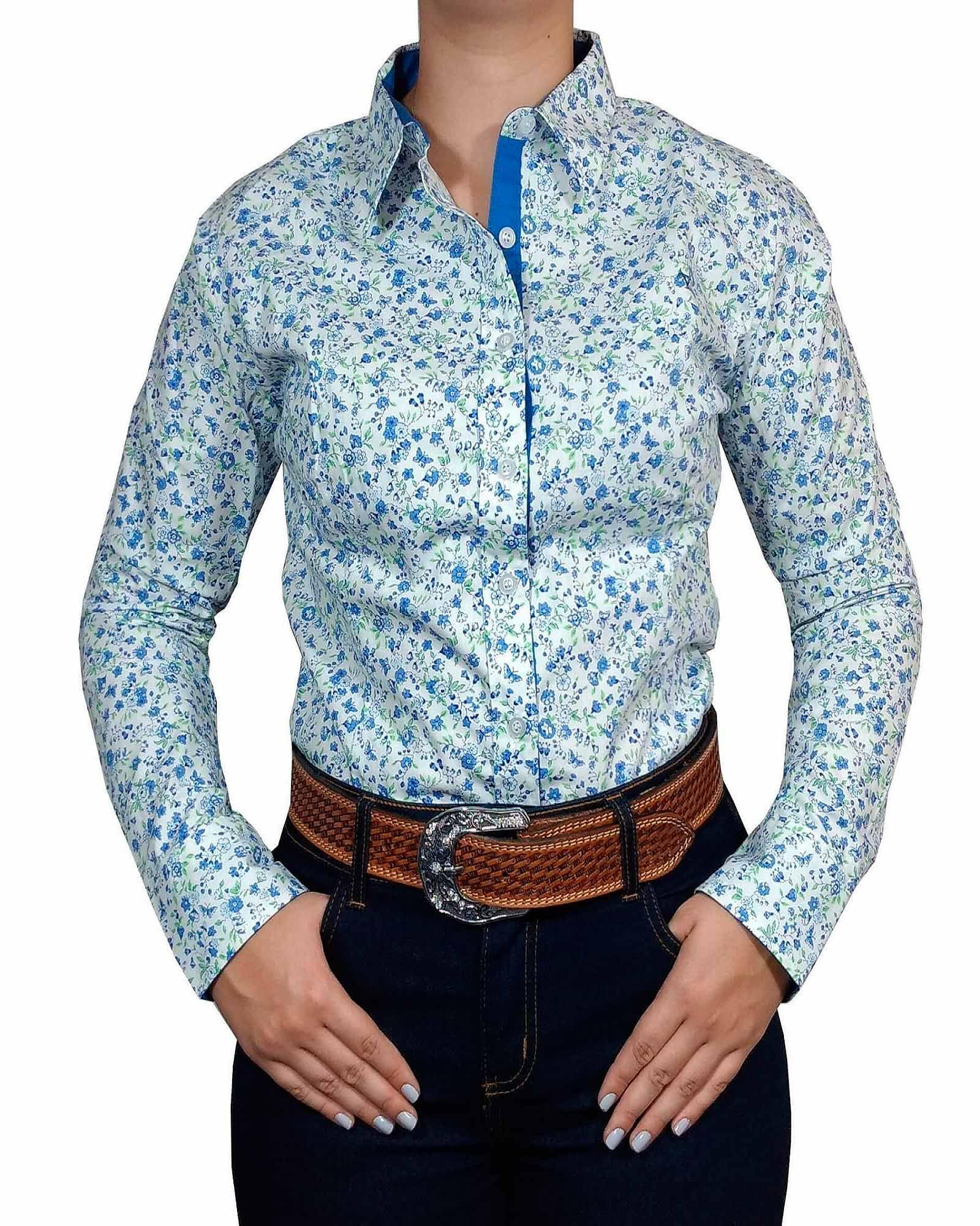 Camisa Feminina Black Angus Azul e Branco Floral