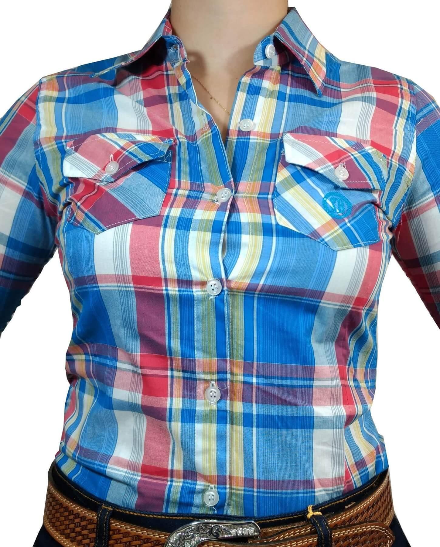 Camisa Feminina Smith Brothers Dois Bolsos Xadrez Ref. 05